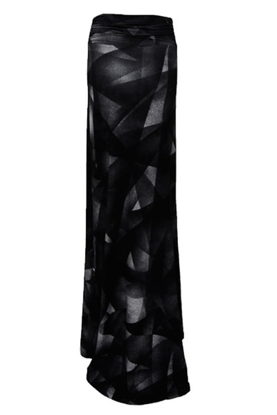 NORDENFELDT Moa, extra long maxi skirt with abstract allover print in black and wide draped waistband