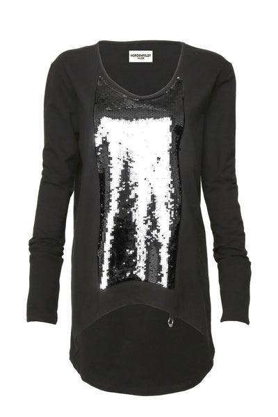 NORDENFELDT Nude Willow, light sweater in black with sequin application at front part, long sleeves with cuffs