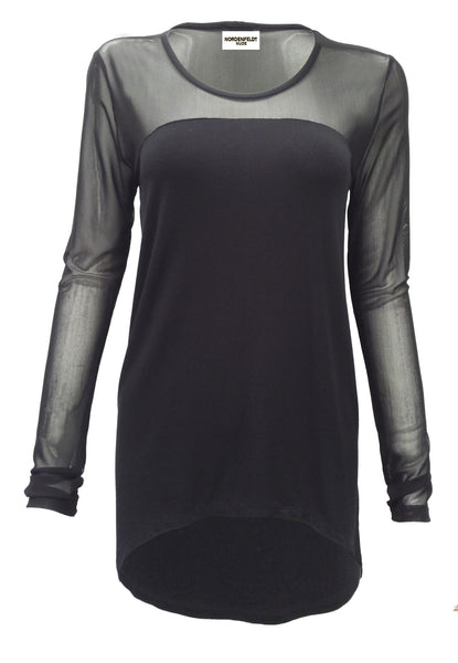 NORDENFELDT Nude Britt, top in black with fabric mix and long sleeves made of transparent net fabric