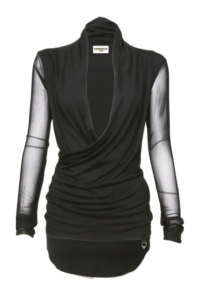 NORDENFELDT Nude Faith Net, top in black with draped and crossed deep V-neck and long sleeves made of transparent net fabric, tight silhouette