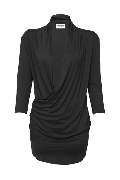 NORDENFELDT Nude Faith, top with draped and crossed deep V-neck, in black, tight silhouette