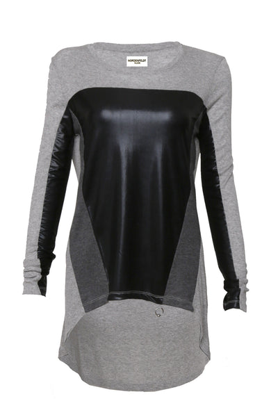 NORDENFELDT Nude Isabella frost, top in grey with fabric mix at front part and long sleeves, with black shiny and dark grey inserts, worn by Tarja Turunen