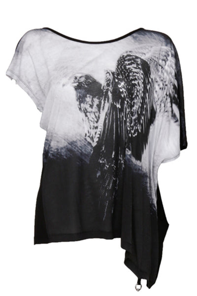 NORDENFELDT Nude Lenja Eagle, asymmetrical draped top in black with hawk print, wide neckline and broached sleeves, worn by Tarja Turunen