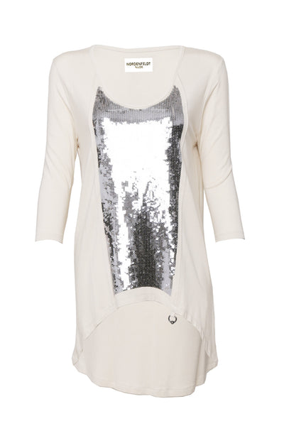 NORDENFELDT Nude Lola, top in nude with sequin application and 3/4 sleeves