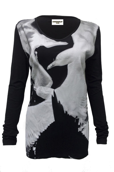 NORDENFELDT Nelly Birds, Top in black with long sleeves and bird print at front part