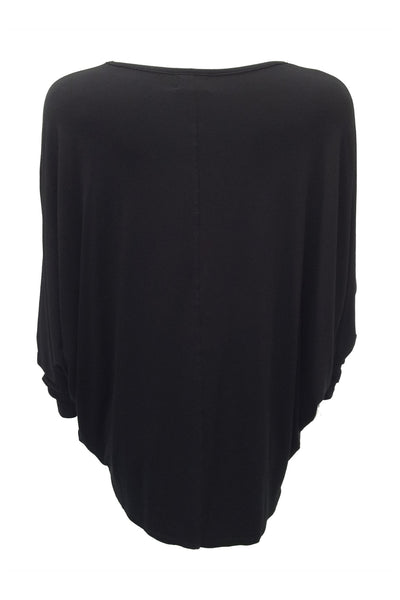 NORDENFELDT Nude Vic Birds, triangle top in black with bird print, 3/4 sleeves and longer back hemline, loose fit