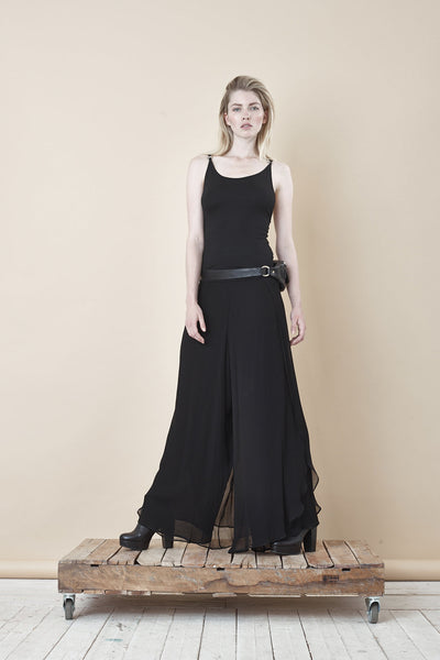 NORDENFELDT Marla, extra wide culottes trousers in black made of chiffon