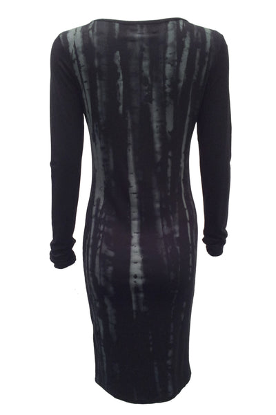 NORDENFELDT Moon Birch, dress with birch print and long sleeves in black, tight silhouette