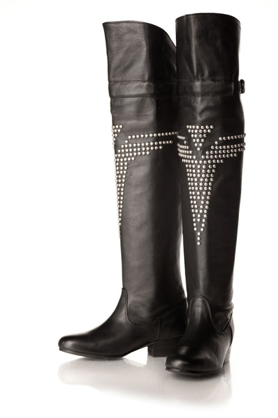 NORDENFELDT Black Annis Over-The-Knee-Boots with studs, leather