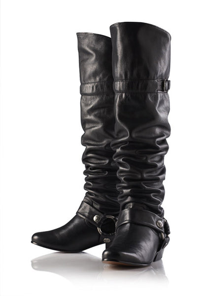 NORDENFELDT Svana Biker Boots, over-the-knee, in black, leather