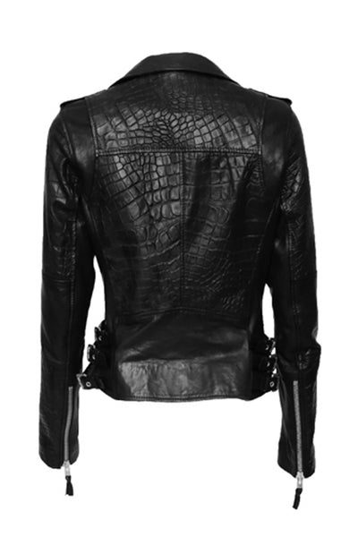 NORDENFELDT Nia, leather Biker Jacket in black with Croco embossing, epaulettes and buckles, worn by Tarja Turunen