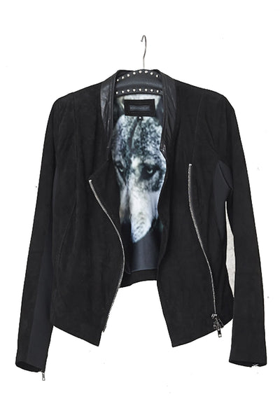 NORDENFELDT Riika, Suede leather jacket in black with Wolf print inside on lining, Goat Suede leather, worn by Tarja Turunen