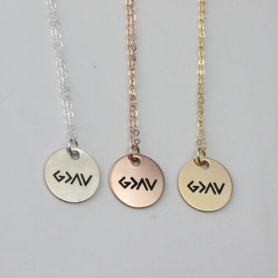 God is Greater Than The Highs and Lows Disc Necklace