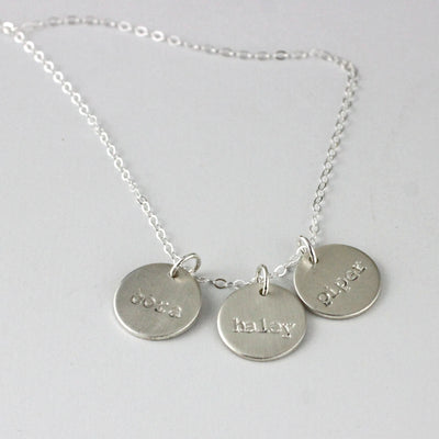 "Personalized Mother's name necklace ( 1/2"" Discs)"