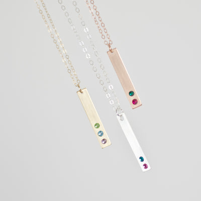 Birthstone Bar Necklace with Swarovski® Crystals
