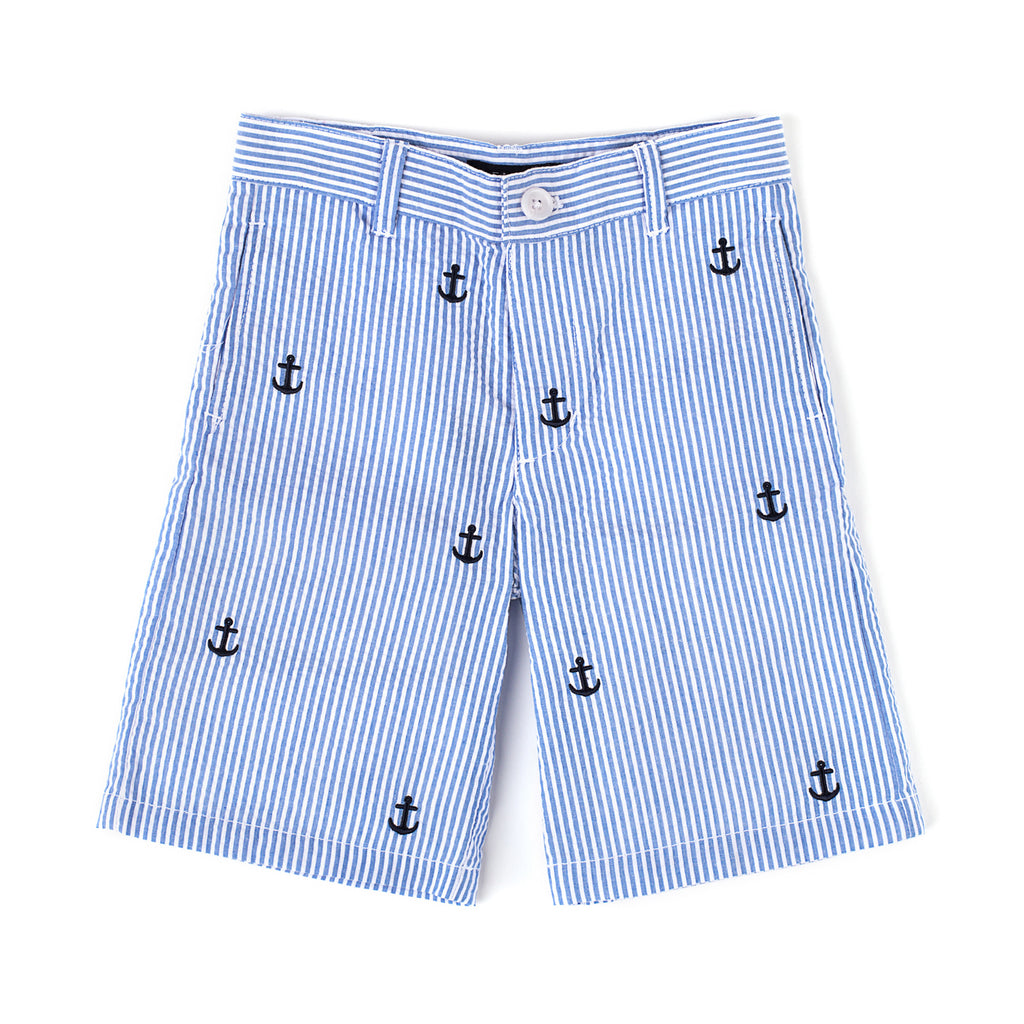 Embroidered Anchor Seersucker Short
