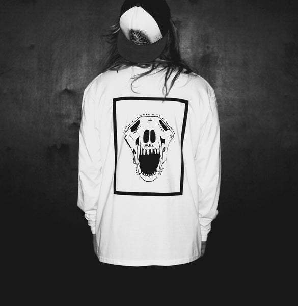 Wolf Skull Long Sleeve | White | Oversized | 100% Organic
