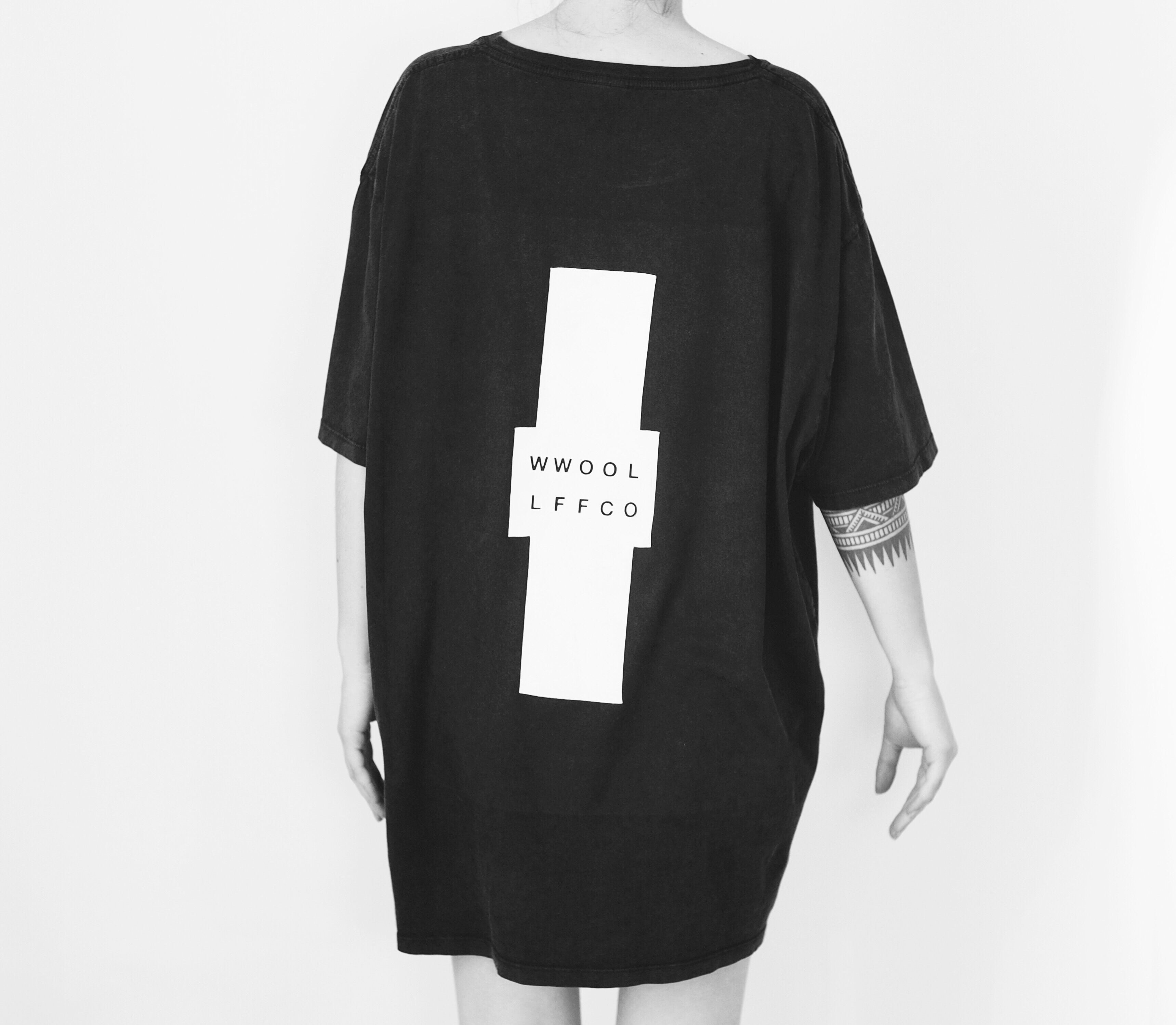 WWOOLLFF Cross | Oversized Stone Washed Black Tee