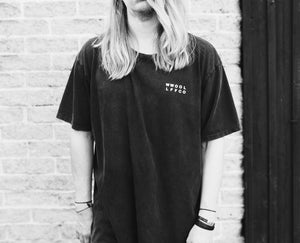 WWOOLLFF Cross | Oversized Washed Out Black Tee