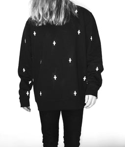 WWOOLLFF Space Crosses | Oversized Black Sweatshirt