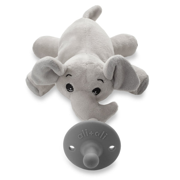 Ali+Oli Soft Plush Soothie Holder (Elephant) Silicone Pacifier