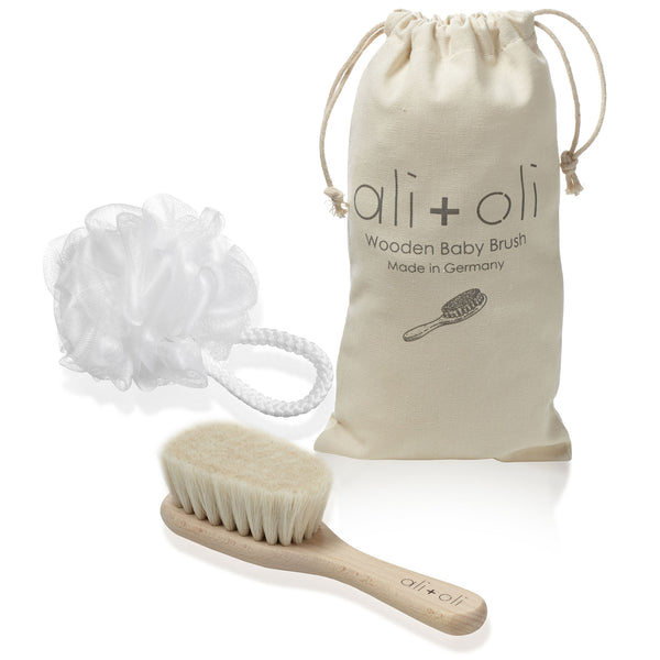 Wooden baby brush with gift baby bag with baby Loofah