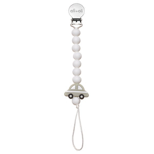 Ali+Oli Pacifier clip with grey car bead and white silicone beads