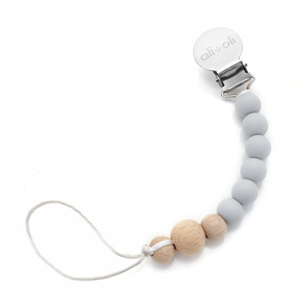 Ali+Oli Modern Pacifier Clip for Baby (Soft Grey Wood) BPA Free Silicone Beads