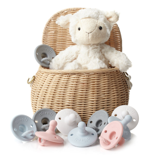 Ali+Oli Pacifier Set (Soft Blue & Grey)