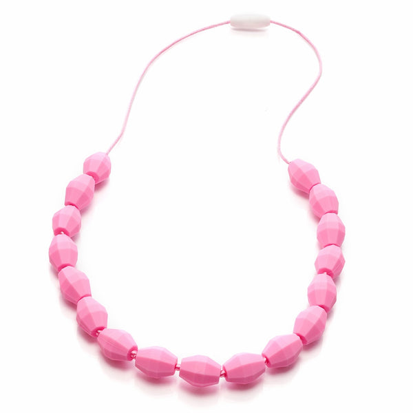 Pink barrel silicone teething necklace