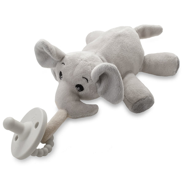 Elephant plush toy pacifier holder with grey pacifier