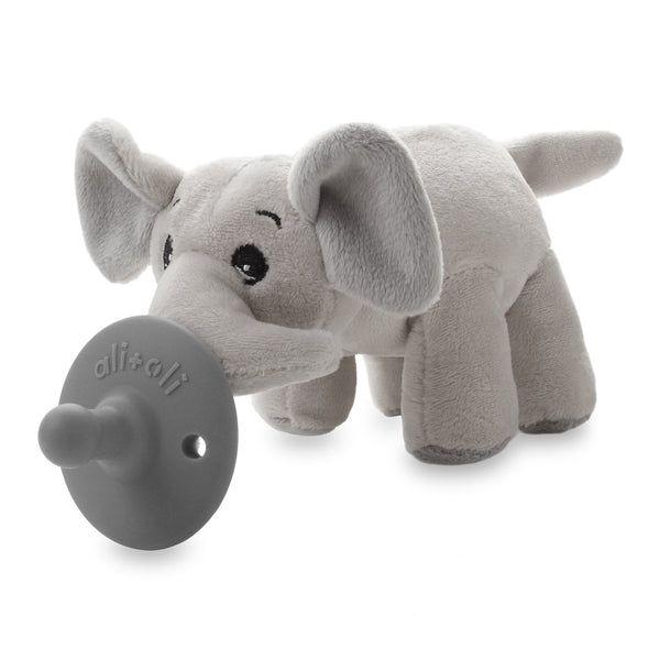 Pacifier Holder Soft Plush Elephant with Silicone Pacifier