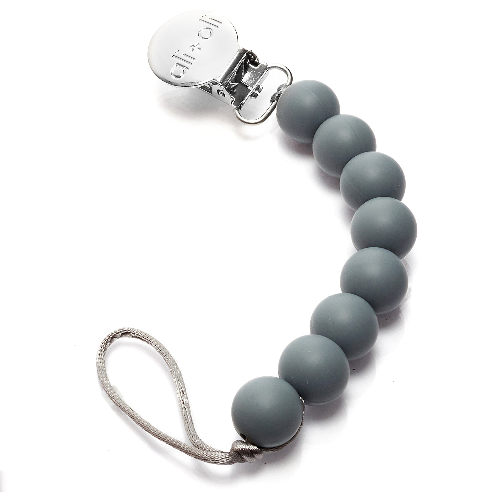 Ali+Oli Modern Pacifier Clip for Baby (Grey) BPA Free Silicone Beads