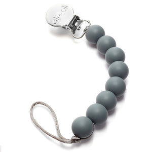 Ali+Oli Silicone Pacifier Clip for Baby in Grey