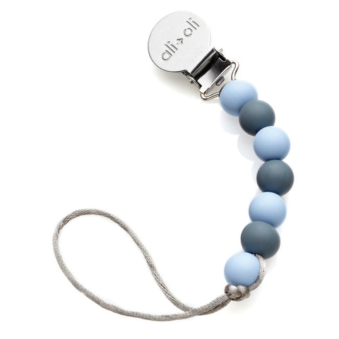 Ali+Oli Modern Pacifier Clip for Baby (Thin Iron) BPA Free Silicone Beads
