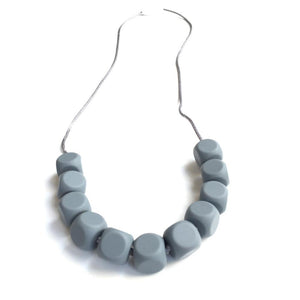 Grey Chew able Beads Silicone Teething Necklace for Mom and Baby