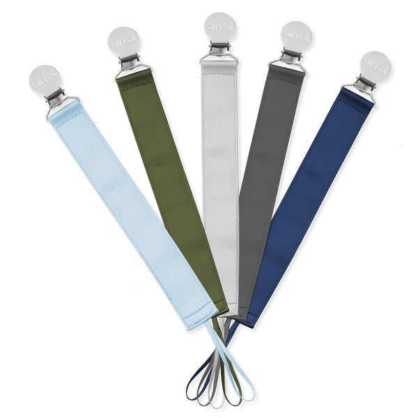 Ali+Oli Modern Satin Polyester Pacifier Clip (set of 5) for Boys
