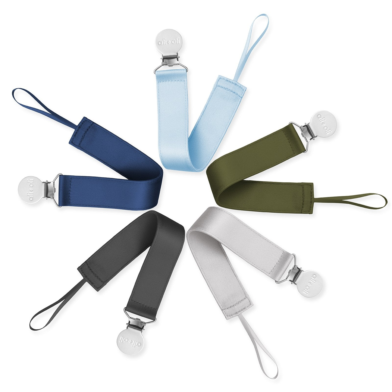 Ali+Oli Modern Satin Polyester Pacifier Clip set of 5 for Boys