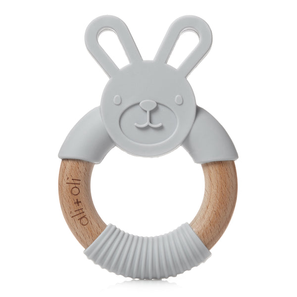 Teether Bunny Toy for Baby (Soft Grey) BPA Free Silicone & Natural Beechwood