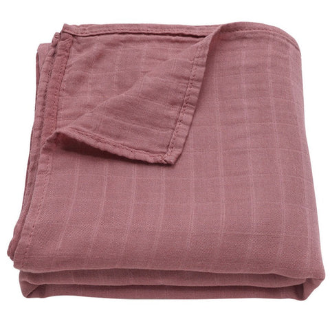 Muslin Swaddle Baby Blanket Bamboo & Organic Cotton (Mauve)