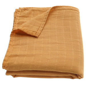 Muslin Swaddle Baby Blanket Extra Soft Bamboo & Cotton Ochre