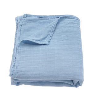 Baby Boy Muslin Swaddle Blanket in blue