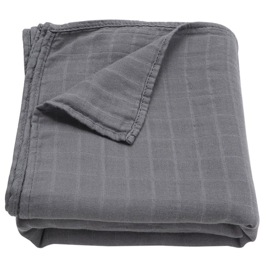 Extra soft muslin swaddle baby blanket dark grey
