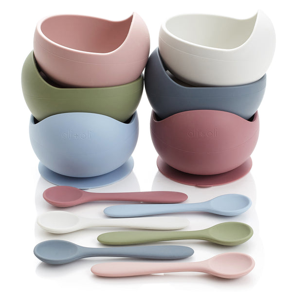 Ali+Oli Silicone Suction Bowl & Spoon Set (Mist)