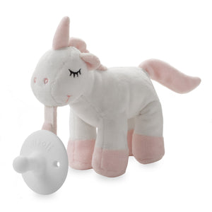 Ali+Oli Soft Plush Soothie Holder Unicorn Silicone Pacifier