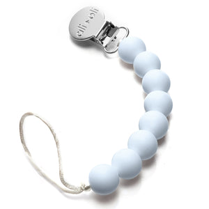 Ali+Oli Modern Pacifier Clip for Baby (Baby Blue) BPA Free Silicone Beads