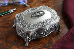 Claddagh Jewelry Box Two Sizes Love Loyalty Friendship Medallion Pewter Made in Ireland