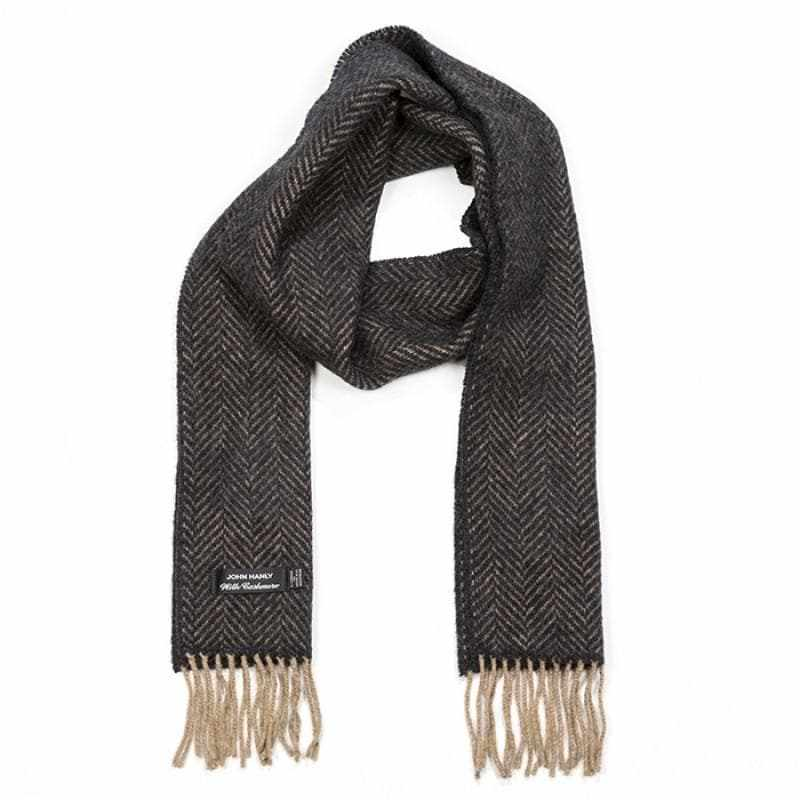 "Cashmere & Merino Wool Scarf Ultra Soft Herringbone 8 1/2"" W x 69 1/2"" L Irish Made in Co. Tipperary, Ireland"