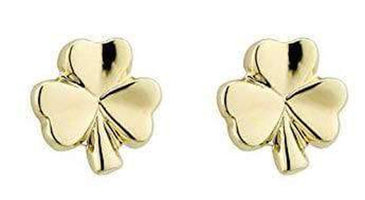 Small Shamrock Earrings Gold Plated Studs Made in Ireland