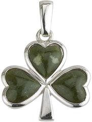 Shamrock Necklace Sterling Silver & Connemara Marble Made in Ireland